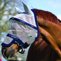 RAMBO Fly Mask - Silver/Navy