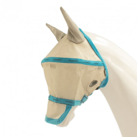 RAMBO Fly Mask - Silver/Turquoise